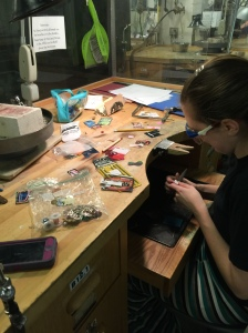 Eleana working on pieces for the Student Jewelry Guild Sale