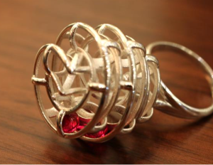 3D printed ring with rubies